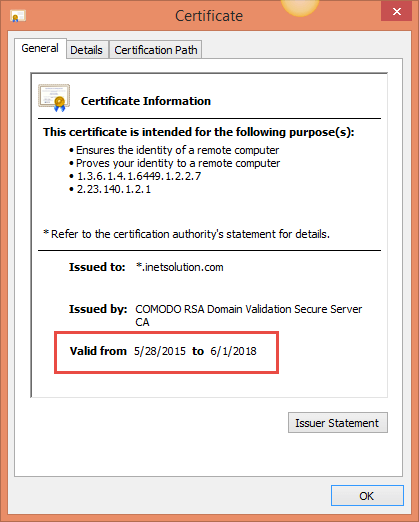 Screenshot of SSL Certificate information