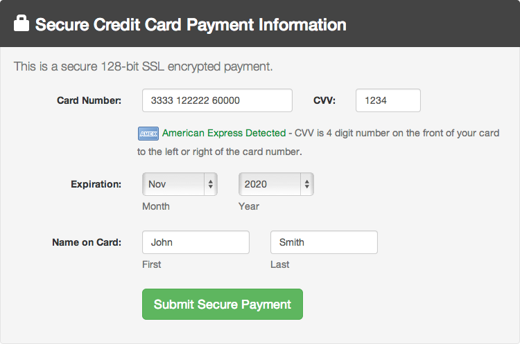 Screenshot of credit card payment form