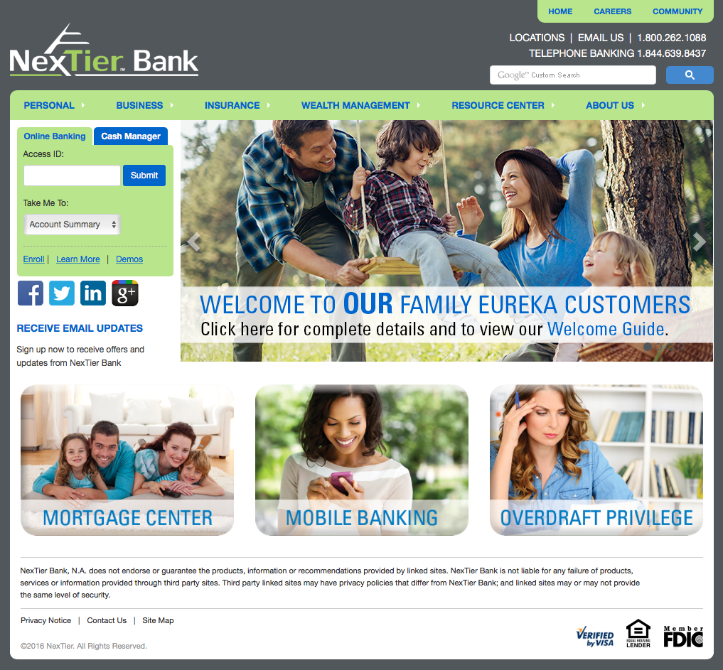 NexTier Bank Homepage on Desktop Screenshot